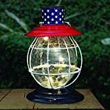 Exhart Dual Use Patriotic Accent Lantern, LED Solar Powered, Metal & Glass, Red, White and Blue Pattern, 6'' L x 7'' W x 11'' H
