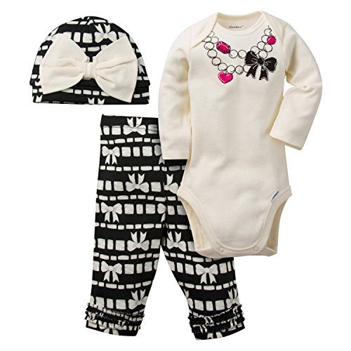 Gerber Girls' 3 Piece Bodysuit, White Bow/Necklace, 0-3 Months (Around The World Outfit)