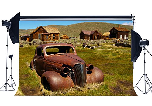 Gladbuy Vinyl 5X3FT West Cowboy Backdrop Rural Old Wood House Backdrops Vintage Ruined Car Mountain Green Grass Meadow Spring Photography Background for Kids Baby Tourism Photo Studio Props KX715