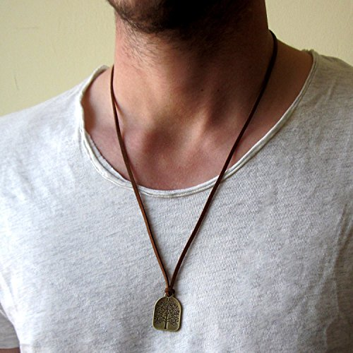 Men's Bronze Plated Tree of Life With Brown Synthetic Suede Necklace - Suede Necklace
