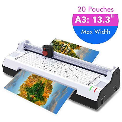 Thermal Laminator Machine for A3/A4/A6, Abwei Laminating Machine 2 Roller System with Rotary Trimmer, Corner Rounder, 20 Laminating Pouches, Fast Warm-up, for Home and Office Use (A3 Laminator) -