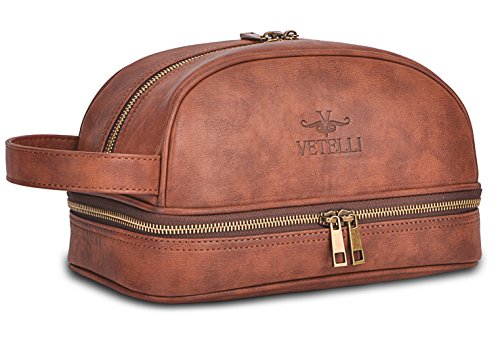 Vetelli Leather Toiletry Bag For Men (Dopp Kit) with free Travel Bottles. (Toiletry Leather Bag)