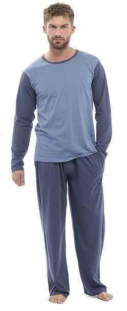 Tom Franks - pijama, largo, para hombre, de algodón Azul Navy Denim Medium