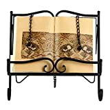 Woopoo Metal Recipe Holder 2 Weighted Chains to Hold Pages in Place and a Kickstand for Durability Collapsible Storage is Light in Weight Support Book and Tablet Placement Cookbook Holder