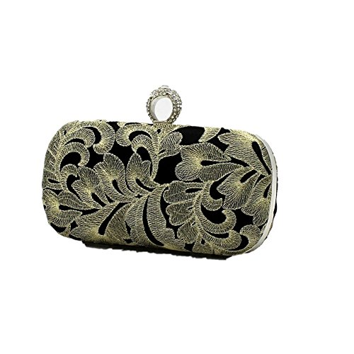 Women Cocktail Bag Shiratori Elegance Purse Black Retro Party golden Clutch Embroidery Lady Evening RzRIaqxwp