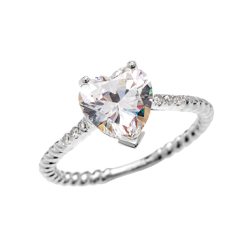 14k White Gold Dainty Diamond and 3 Carat Heart Cubic Zirconia Solitaire Rope Design Engagement Ring(Size 10.25)