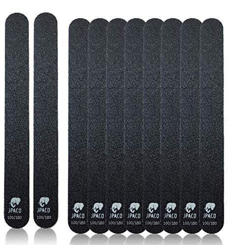 JPACO 12 PCS Professional Nail Files 100 180 Grit (Black) for Press Ons, Gel, Acrylic, Crystal, Natural Nails. Double Sided Emory Board Black & Washable (12 Pack)