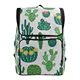 Travel Backpack Blooming Cactus Plant Grass White Sprot Backpack for Women Large Boxy Daypack