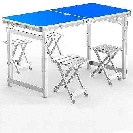 UNAU Mesa Plegable, 4 mesas de Picnic Plegables, 4 sillas de ...