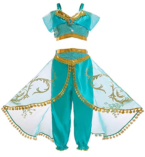 FUNNA Princess Jasmine Costume for Girls Kids Dress Up Outfit Party Supplies, 5-6T Blue]()