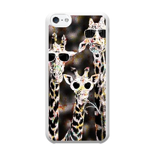 Coque,Coque iphone 5C Case Coque, Giraffe With Sunglasses Cover For Coque iphone 5C Cell Phone Case Cover blanc
