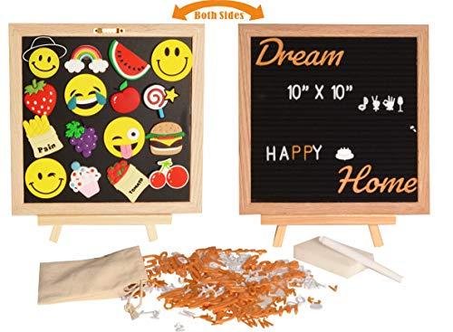 Felt Letter Board and Magnetic Chalk Board 10 x 10 inches | Changeable 300 White Plastic Letters, 161 Plastic Orange Letters, Symbols, 16x Emoji's, Chalk Marker, Canvas Bag & Oak Frame Gift/Decorati