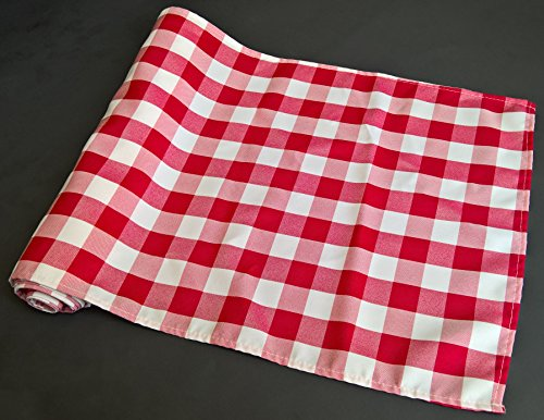 Gingham Table Runner (Checkered Gingham Table Runner 14 x 108 Inches Red and White)