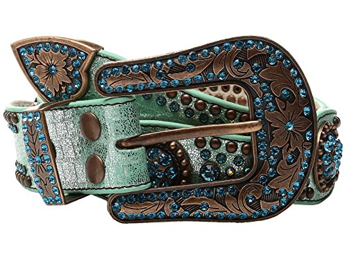 M&F Western Women's Scalloped Round Concho Belt Light Blue Belt XL