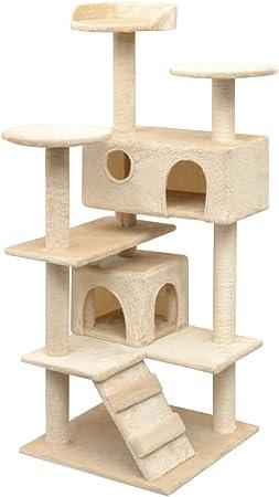 UnfadeMemory Árbol para Gatos,Rascador para Gatos con Escalera,Refugios y Plataformas,Postes Rascadores de Sisal 125cm,67x67x125cm (Beige): Amazon.es: Hogar
