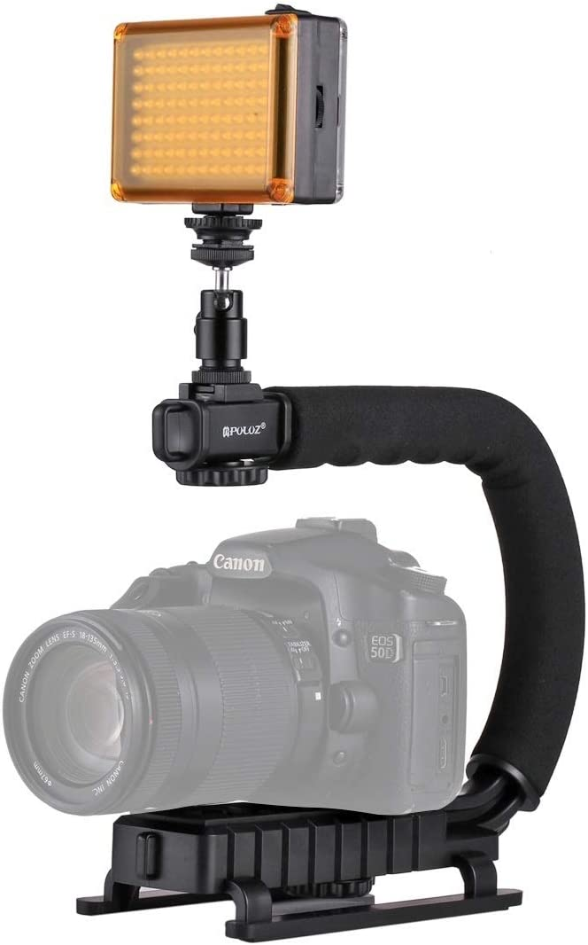 LED Studio Light Kit with Cold Shoe Tripod Head for All SLR Cameras and Home DV Camera Durable JINGZ U//C Shape Portable Handheld DV Bracket Stabilizer Color : Color1