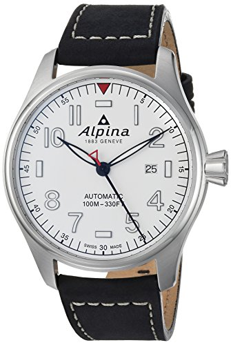 Alpina Men's 'Startimer' Swiss Automatic Stainless Steel and Leather Casual Watch, Color:Black (Model: AL-525S4S6)