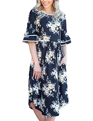 GRAPENT Women's Casual Crewneck Floral Print Ruffle Half Sleeve Pocket Fit and Flare Midi Dress Size XL