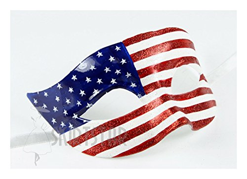 U.S. American Flag Design Glitter Costume Eye Mask
