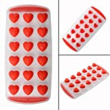 SET OF 3 Easy push Pop Out Ice Cube Trays with flexible silicone bottom (Ships From USA) (Mini Heart)