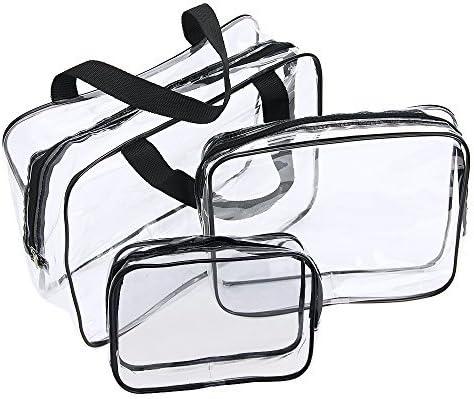 Neceser Transparente, JTDEAL Bolsa Impermeable de PVC (3pcs), Bolsa de Cosmético Bolsa de Mano Organizador de Viaje Portátil
