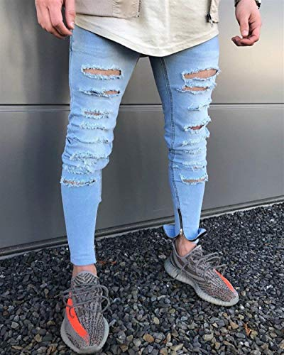 Fit Jeggings Strappato Destroyed Casual Slim Biker Stretch Uomo Skinny Blau Pantaloni Denim Jeans Moda Giovane SxqAw8ZZ