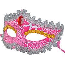 Venetian Masquerade Mask Floral Lace Mask with Rhinestones Party Costumes