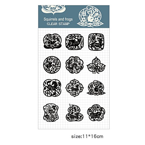 Squirrels and frogs Ink Pads and Clear Stamps Work with Stamp Block Set for Card Making Decoration and Scrapbooking (The Chinese Zodiac)