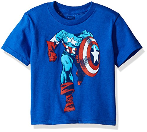 Marvel Toddler Boys' Captain America Short Sleeve T-Shirt, Royal, 5T