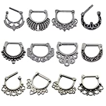 D&M Jewelry 12pcs 316L Stainless Steel - Vintage Septum Clicker Nose Ring 14g 16g