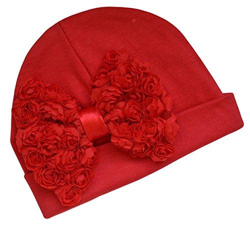 Rosette Chiffon (Shabby Chiffon Rosette Bow Cotton Baby Hat (0-6 Months, Red))