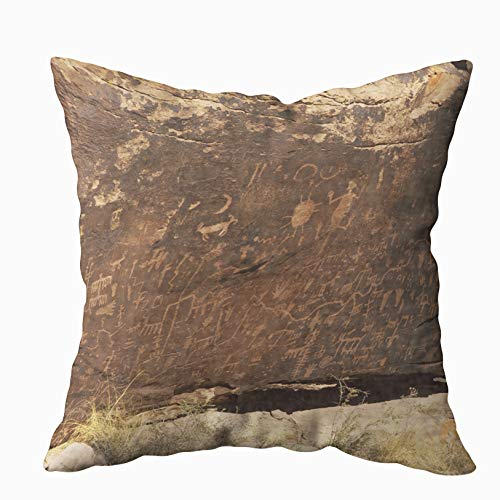 TOMWISH Throw Pillow Covers, Hidden Zippered 16X16Inch Carved in Rocks by The Native American Tribes Navajo Hopi Decorative Throw Cotton Pillow Case Cushion Cover for Home Decor