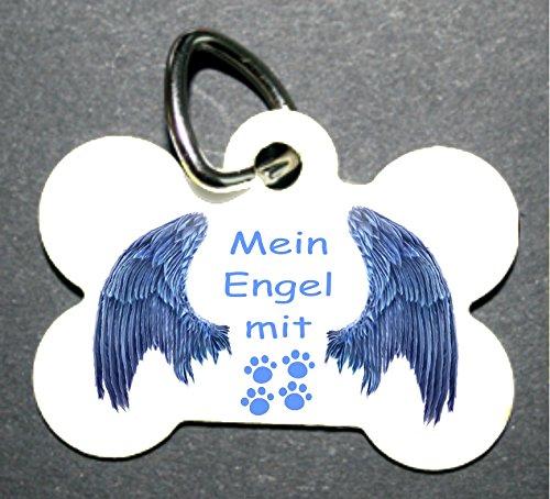 Anhänger Knochen fürs Halsband Katzenmarke mit Motiv: Engel mit Flügel und Rückseite: mit Tiefengravur Hintergrundfarben wählbar! (keine Lasergravur!) auf der Rückseite Name + Telefonnummer