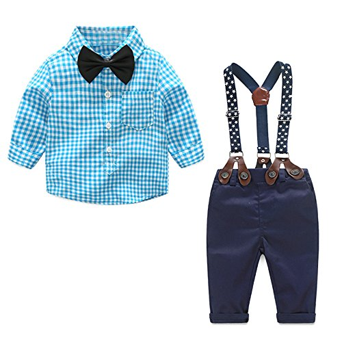 Top and Top 2 Pieces Baby Boys Long Sleeve Plaid Shirt Overalls Set with Bow (95/18-24 Months, Blue)