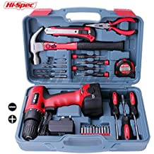 Hi-Spec 26 Piece Household Tool Kit Including 12V Cordless Drill Driver, Position Key less Torque Clutch, Variable Speed Switch, Drill &Screwdriver Accessory Set &Heavy Duty 13oz Hammer
