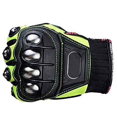 Steel Outdoor Reinforced Brass Knuckle Motorcycle Motorbike Powersports Racing Textile Safety Gloves (Green, Medium): Automotive