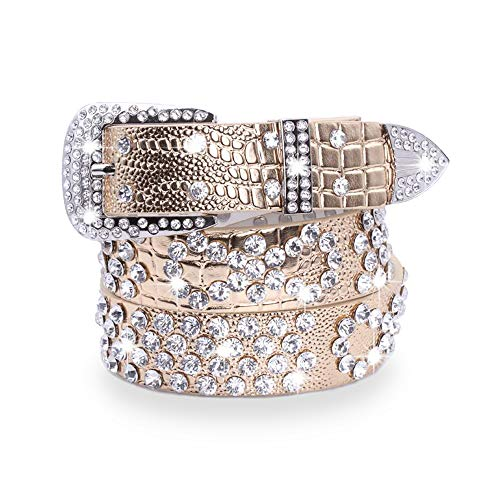 Buckle Gold Belt Bling (Tong Gu Western Crystal Rhinestone Belt with Buckle Cowgirl Studded Belt Bling Leather Waistband for Teens Women)