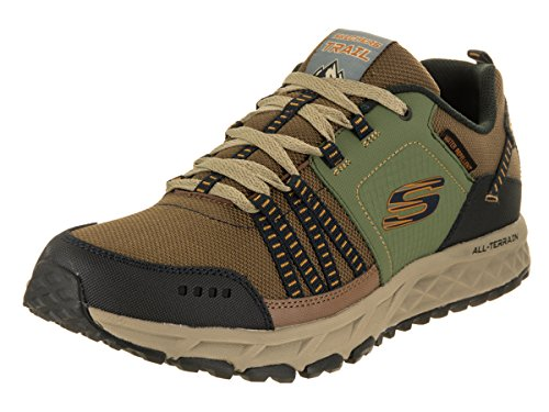 Skechers Hombres Escape Plan Low Top Con Cordones Running Sneaker Marrón / Verde