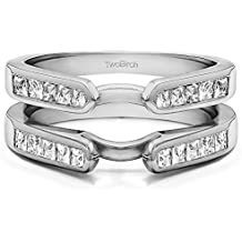 Sterling Silver Cathedral Style Channel Set Princess Cut Ring Guard with Cubic Zirconia (0.75 ct. tw.)