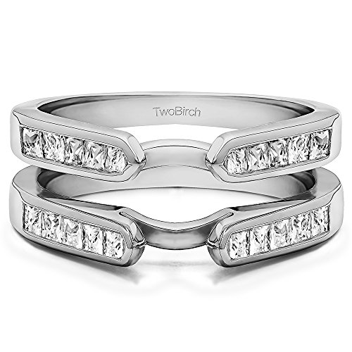 TwoBirch 0.75 ct. Cubic Zirconia Cathedral Style Channel Set Princess Cut Ring Guard in Sterling Silver (3/4 ct. twt.)