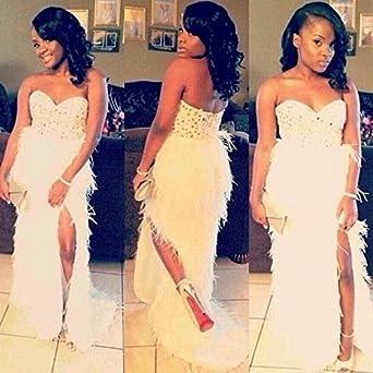 Size 6 White Long Mermaid Feather Prom Dresses White Sweetheart Sleeveless Split Front Beaded Rhinestone Women