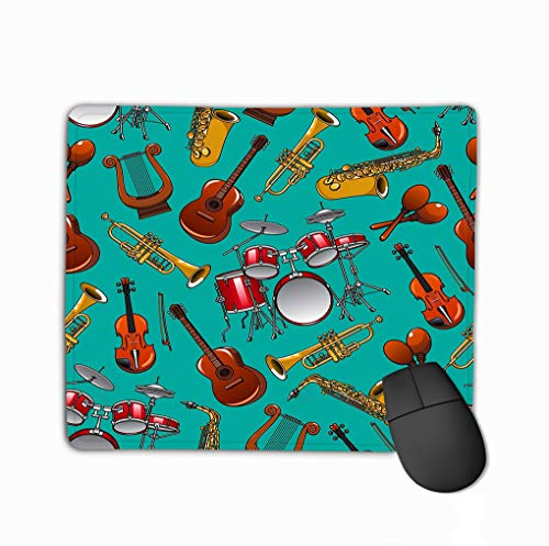 (Mouse Pad Classical Musical Instruments Turquoise Drum Set Guitar Trumpet Saxophone Violin Lyre Stars Rectangle Rubber Mousepad 11.81 X 9.84 Inch )