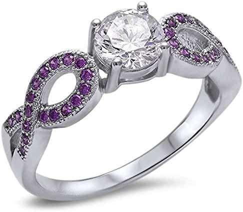 Cubic Zirconia Solitaire & Simulated Amethyst Infinity Style .925 Sterling Silver Ring Sizes 5-10