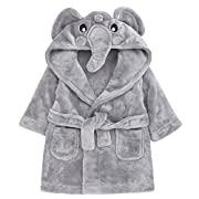 Childrens/Toddlers Soft Fleece Dressing Gown with Animal Hood ~ 6-24 Months (6-12 Months, Elephant)