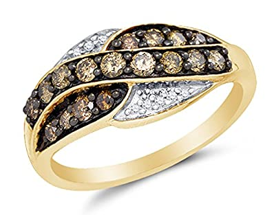 10K Yellow Gold Chocolate Brown & White Round Diamond Fashion Ring – Channel Setting (.57 cttw.)