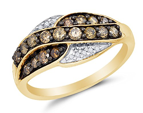 Size 7 - 10K Yellow Gold Chocolate Brown & White Round Di...
