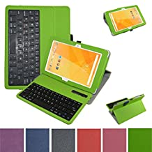 "Acer Iconia One 10 B3-A20 Bluetooth Keyboard Case,Mama Mouth Coustom Design Slim Stand PU Leather Case Cover With Romovable Bluetooth Keyboard For 10.1"" Acer Iconia One 10 B3-A20 Android Tablet,Green"