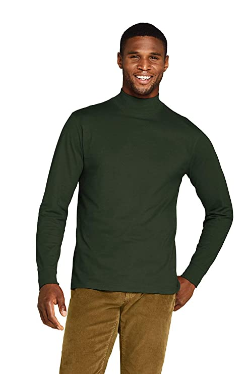 Lands' End Men's Super-T Mock Turtleneck M Green best men's turtlenecks
