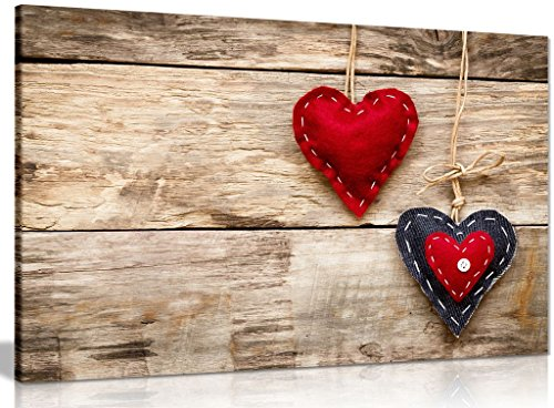 Red Love Hearts On Wood Canvas Wall Art Picture Print (12x8in)