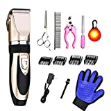 Pet Dog and Cat Grooming Clippers Kit Low Noise Cordless Pet...